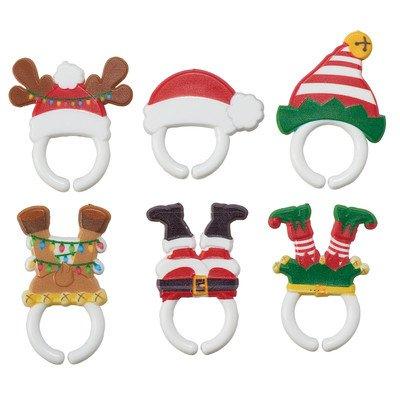Whimsical Christmas Feet and Hats Cupcake Rings - 24 pc