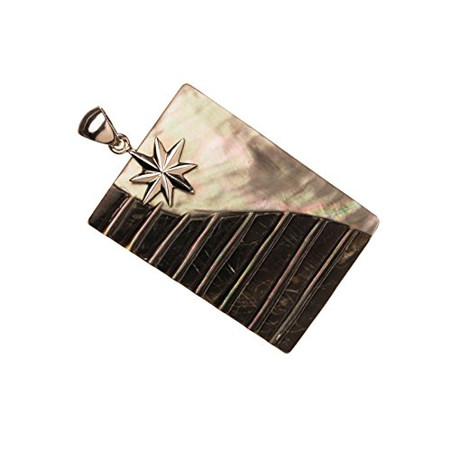 (Two Tone Plate Shell Pendant With Silver-Plated Copper Bail 34x50x4mm)