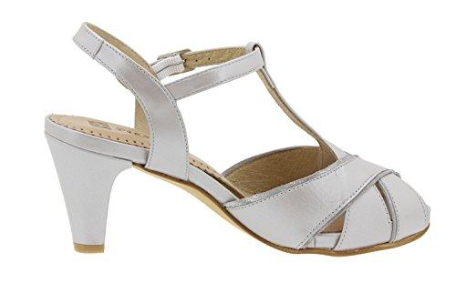 Calzado mujer confort de piel Piesanto 6258 sandalia fiesta zapato cómodo ancho Gris