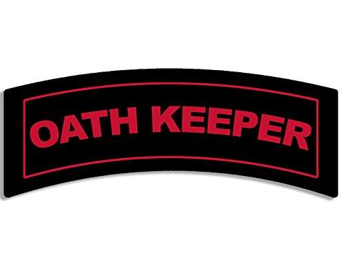 (American Vinyl Red/Black Oath Keeper Tab Shaped Sticker (Vet Military Police))