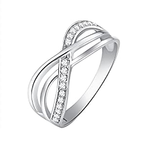 0.15 Ct. White Diamond 925 Sterling Silver Engagement Wedding Promise Ring Size 6 8 (G H Color, SI2 SI3 Clarity)