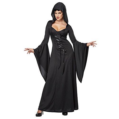 Women's Deluxe Hooded Robe Sexy Long Dress, Black, Medium ()