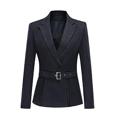 Women's 2 Piece Office Lady Stripes Business Suit Set Slim Fit Blazer Jacket Pant: Clothing