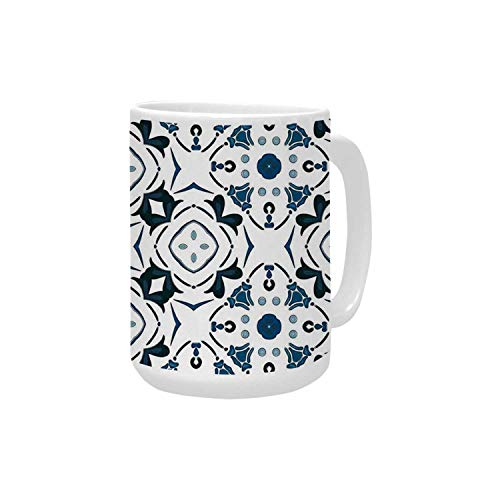 Traditional House Decor Ceramic Mug,Decorative Petals and Octagon Forms Royal Victorian Figures for Home,15OZ ()
