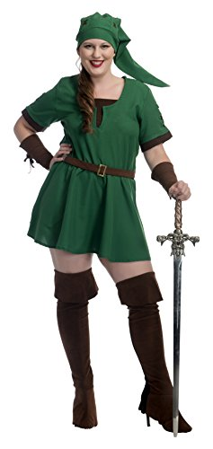Warrior Elf Sexy Costumes - Elf Warrior Princess Adult Costume, 3X, Green