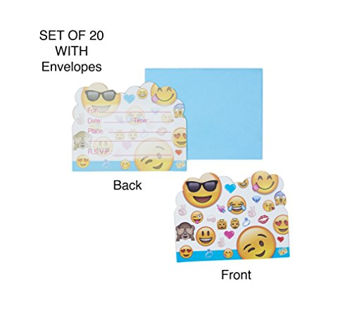 Qurly Blue Emoji Party Invitation Card with Envelopes Set of 20 for Boy Girl Kid Happy Birthday Supplies Graduation Celebration Teen Greetings Postcard Bonus 3 Sheet Funny Favor Decoration Sticker