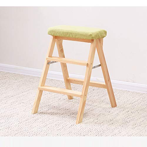 Hzpxsb Solid Wood Folding Ladder Indoor Thicken Removable Cleaning seat Cover Multifunction Small Staircase, Home Kitchen Library Ascends Bench Space Saving. ()