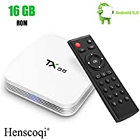 Android TV Box 6.0,Henscoqi TX95 1G 16G S905X Quad Core Marshmallow Smart TV Box Support 802.1.1 b/g/n Wifi 4K H.265