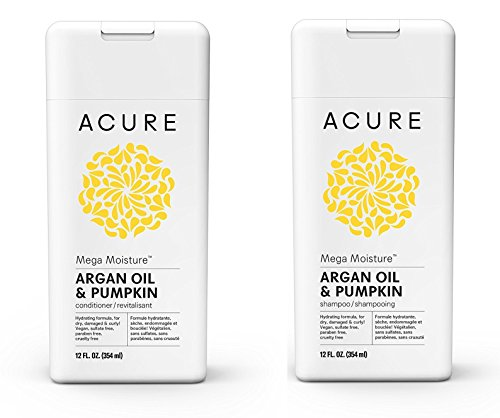Acure Mega Moisture Shampoo - Conditioner Set Argan Oil & Pumpkin, 12oz ea Bottle