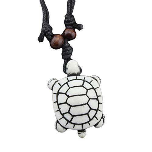 (Eleusine Men's Yak Bone Carving Tribal Style Ninja Turtles Pendant Necklace White)