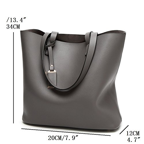 2PCs JIARUO Grey Tote Large Bag Women Bags Leather Vintage Shoulder PU Handbags Dark 6HH4qd
