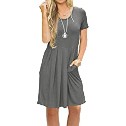 AUSELILY Women's Short Sleeve Simple Loose Casual Dress with Pockets Gray M
