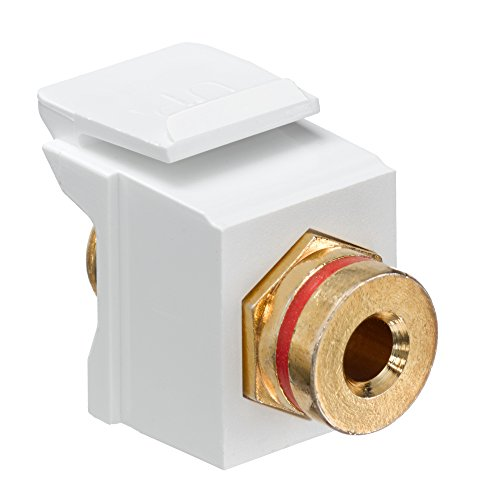 Leviton 40837-BWR QuickPort Banana Jack Adapter, Gold-Plated with Red Stripe, White