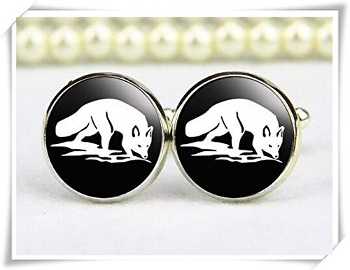 Snow Fox Cufflinks, arctic fox cufflinks, custom any text, personalized cufflinks CX28