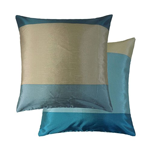 - BRAZIL TEAL BLUE CREAM BEIGE STRIPE STRIPED FAUX SILK THROW PILLOW SCATTER CUSHION COVER TO MATCH DRPES CURTAINS 17