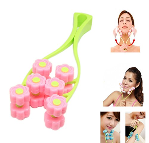 Jaw Line (Face Massager,SinLoon Facial Massage, Flower Type Massage Roller for V Face Pull Tight Firming, Beauty Tool (Pink))