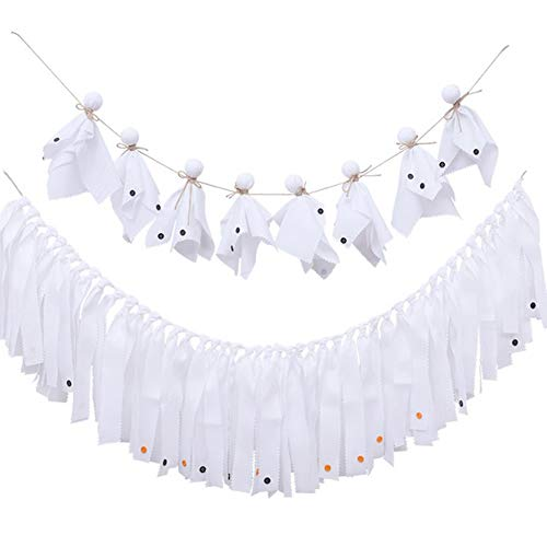 Firlar Halloween Cloth Banner, 2Pcs Hanging Ghost Puppet Doll Banner Decor, Wall Hanging Halloween Party Indoor and Outdoor Decoration Supplies -