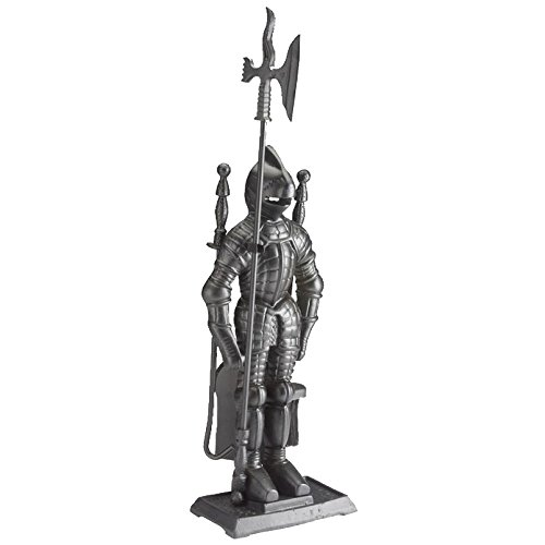 Lizh Metalwork Dark Knight Fireplace Tool Set,Black Cast Iron