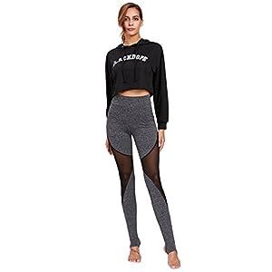 SweatyRocks Leggings Women Crisscross Stirrup Tights Gym Yoga Workout Pants Dark Grey L