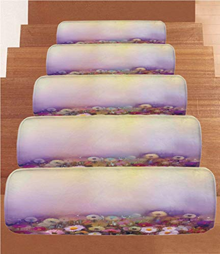 """Coral Fleece Stair Treads,Watercolor Flower Home Decor,Bed with Different Blossoms Types Fresh Romantic Garden Paint,Lilac Pink,(Set of 5) 8.6""""x27.5"""" from iPrint"""