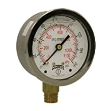 """Winters PFQ Series Stainless Steel 304 Dual Scale Liquid Filled Pressure Gauge with Brass Internals, 0-160 psi/kpa,2-1/2"""" Dial Display, +/-1.5% Accuracy, 1/4"""" NPT Bottom Mount"""