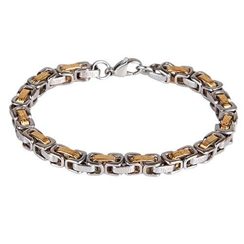 BodyJ4You Men's Chain Link Bracelet Greek Key Stainless Steel Two-Tone Bracelet 8.5