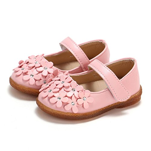 Children Shoes,AutumnFall Toddler Newborn Baby Girls Flower Leather Shoes,for 0-4 Years Old,Lovely Soft Sole Anti-Slip Single Soft Sole Princess Shoes (Size(CN):16, Pink)