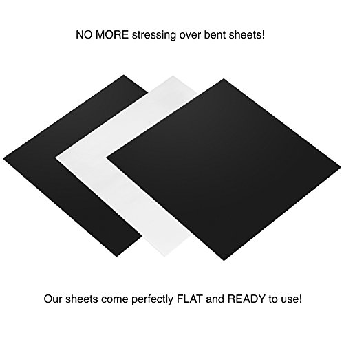 """Permanent Adhesive Backed Matte Vinyl Sheets by EZ Craft USA - 12"""" x 12"""" - 40 Matte Black and White Sheets Works with Cricut and Other Cutters"""