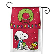 """POLKJIH Snoopy Christmas Garden Flag Double-Sided Printing Easy to Install for Thanksgiving Christmas Outdoor Decor 12.5""""x18"""""""