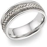 Silver Braided Wedding Band Ring