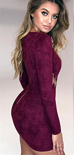 Crew Neck Long Nightclub Womens Sleeve Chain Bodycon Sexy Deer Openwork Dress Didala Suede Purple UqEawRx
