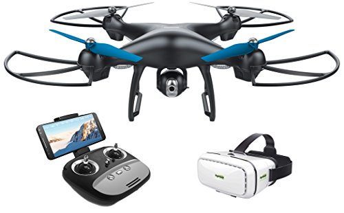 Drone - Promark - GPS Shadow Drone - Premier GPS-Enabled Drone with Follow Me Technology - 6-Axis Gyroscope for Panoramic Shots - Lithium Batteries Included - 720p WiFi Camera - Includes VR Goggles