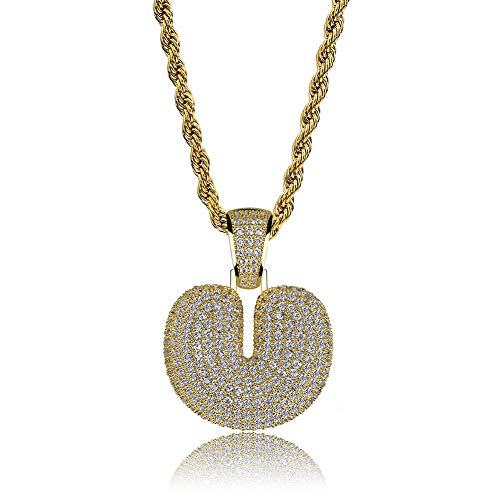 HECHUANG Micropave Simulated Diamond Iced Out Bling Custom Bubble Letters Pendant with Rope Chain (U Gold, 24) ()