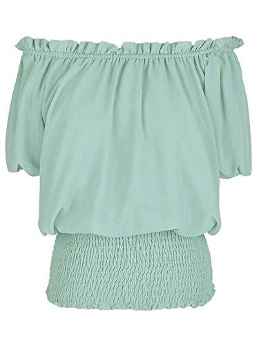 (Anna-Kaci Womens Short Sleeve Ruffle Stretch Off Shoulder Boho Blouse Top, Mint, Small)