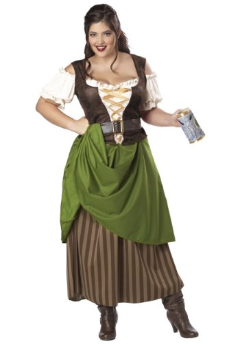California Costumes Plus Size Tavern Maiden Costume, Olive/Brown, 3X (Renaissance Plus Size)