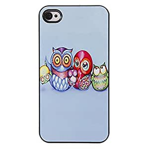 QHY The Adorable Owl Family Pattern PC Hard Case with 3 Packed HD Screen Protectors for iPhone 4/4S