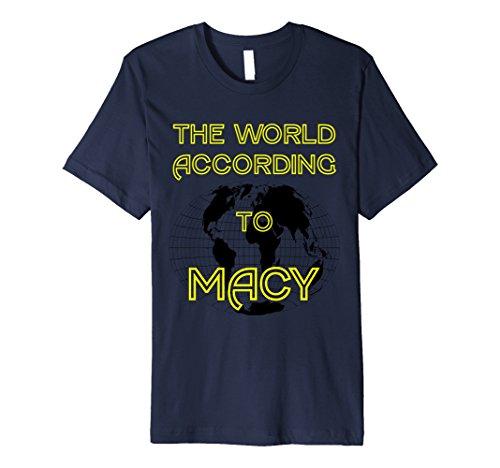 Mens The World According to Macy Tshirt Small Navy