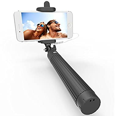 Kiwii Selfie Stick with built-in Remote Shutter with Adjustable Phone Holder for iPhone 6, iPhone 6 Plus, iPhone 5 5s 5c