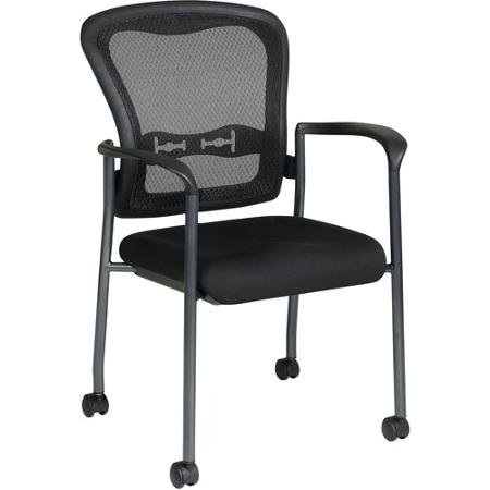 Office Star Pro Line II ProGrid Guest Chair With Wheels, Titanium