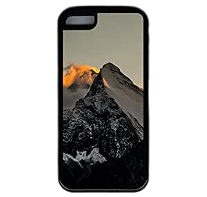 iPhone 5C Case, Himalaya Mountains Sunset Fire Durable TPU Rubber Bumper Case Cover for iPhone 5C Black