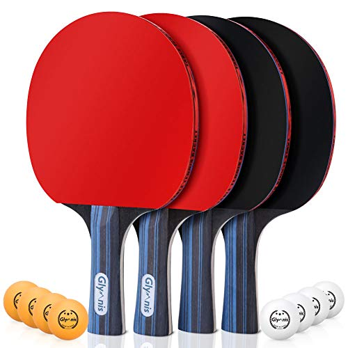 Glymnis Ping Pong Paddle Set of 4 Premium Table Tennis