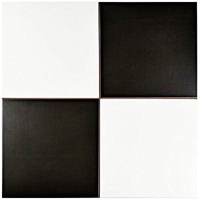 """SomerTile FPECKR Noire Ceramic Floor and Wall Tile, 17.625"""" x 17.625"""", White/Black"""