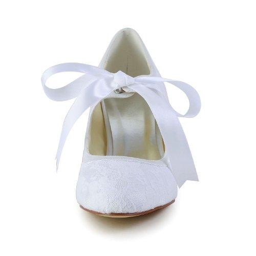 JIA Lace Basso Ballo da Bianco 140311 Party di Chiusa JIA Scarpe per Bridal Pompe Punta Tacco Wommen Ballo Satin rqcwrCtY