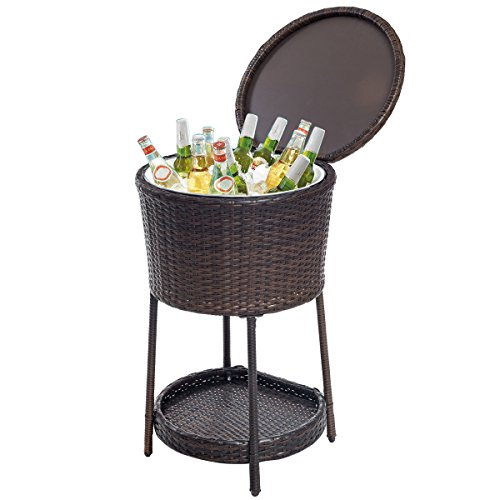 New Ice Cooler Bar Table Bucket Chest Outdoor Drinks Patio Furniture Rattan Storage by totoshop