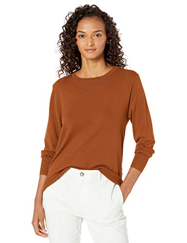 Amazon Brand – Daily Ritual Women's Fine Gauge Stretch Crewneck Pullover Sweater, Caramel, X-Large