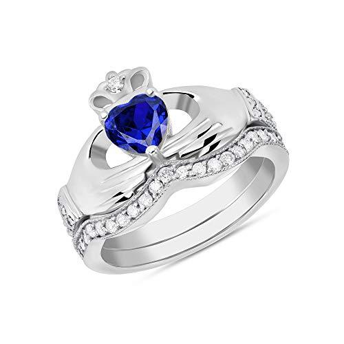 CaliRoseJewelry Sterling Silver Irish Claddagh Birthstone Ring Set September (Size 10)