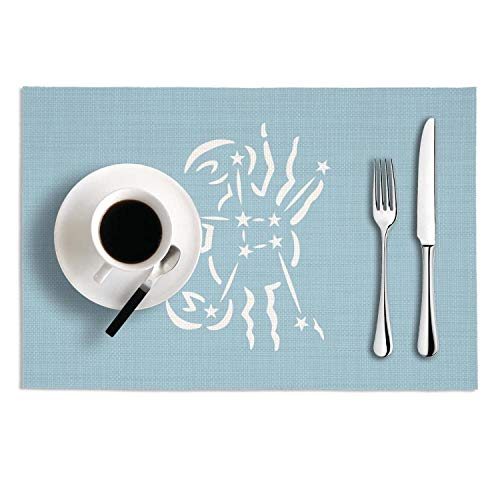 Unicorns Farting Constellation Cancer The Crab PVC Heat-Resistand Placemats Non-Slip Easy to Clean Dining Table Mats for Kitchen Table Set of