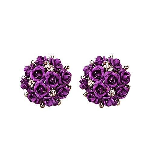 Rhinestone Fashion Flower Ring (Rhinestone Earrings, Muranba Women Summer Bohemia Flower Rhinestone Earrings Fashion Jewelry (B))