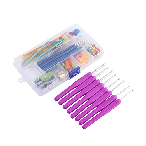 52 Piece 16 Size Crochet Hooks Needles Stitches Knitting Craft Crochet Set In Plastic Case ,Purple/Pink/Green/Rosy ( Color : Purple ) by Yosoo
