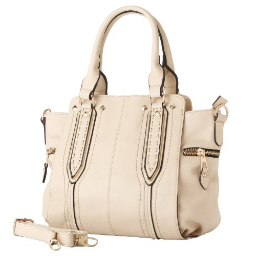 MG Collection NORI Chic Beige Top Handle Office Tote Style Satchel Shoulder Bag
